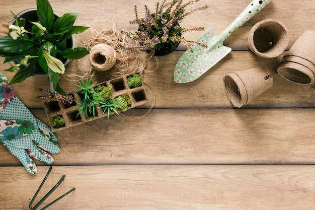 Vista aérea de plantas en bandeja de turba; guante; showel maceta de turba planta floreciendo; rastrillo y cuerda en mesa marrón
