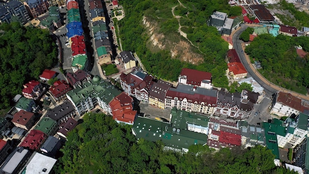 Vista aérea de la plaza de sofía y la plaza mykhailivska en kiev, ucrania
