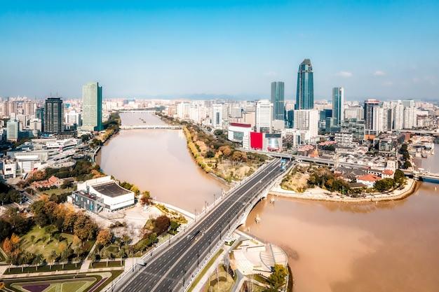Vista aérea de sanjiangkou en ningbo