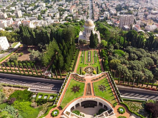 Vista aérea superior de los jardines baha'i