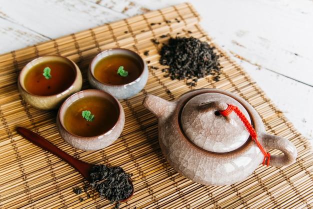 Una vista aérea de tazas de té de hierbas y tetera con hojas de té secas sobre mantel individual