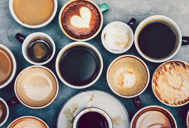 Vista aérea de varios tipos de café