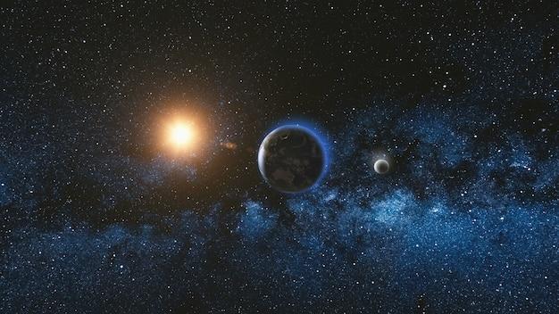 Vista del amanecer desde el espacio en el planeta tierra y la luna