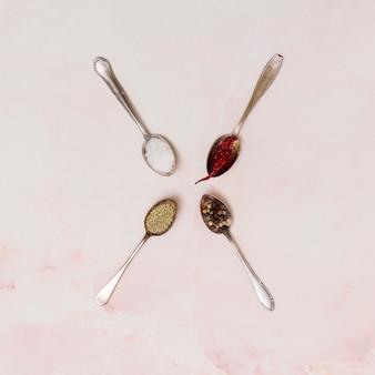 Vista de ángulo alto de una cuchara de acero inoxidable rellena con varias especias.