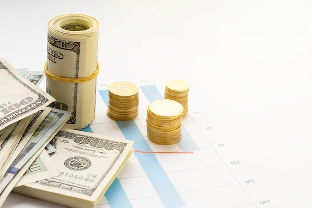 Vista de ángulo alto de la moneda en la parte superior del gráfico