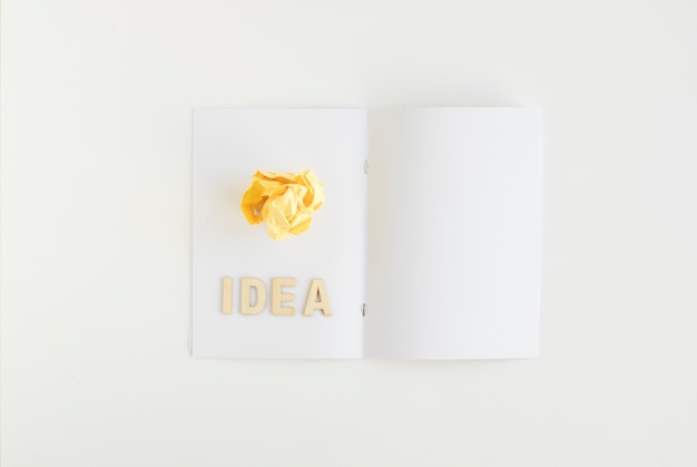 Vista de ángulo alto de papel arrugado con texto de idea en la tarjeta