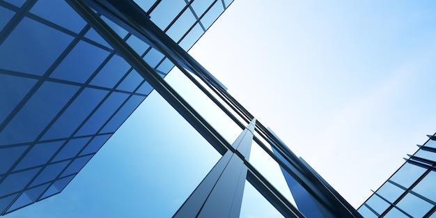 Vista de ángulo bajo de la arquitectura futurista, edificio de oficinas de rascacielos con nube reflejada en la ventana, renderizado 3d.
