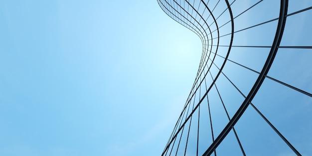 Vista de ángulo bajo de la arquitectura futurista, rascacielos del edificio de oficinas con ventana de cristal curva, renderizado 3d.