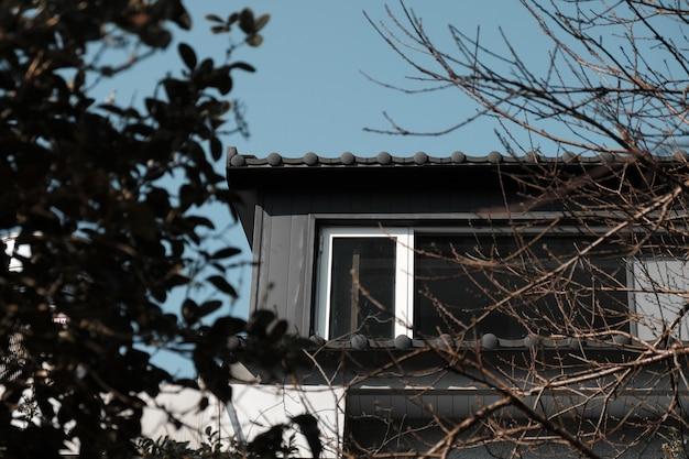 Vista de ángulo bajo de la casa desde el patio