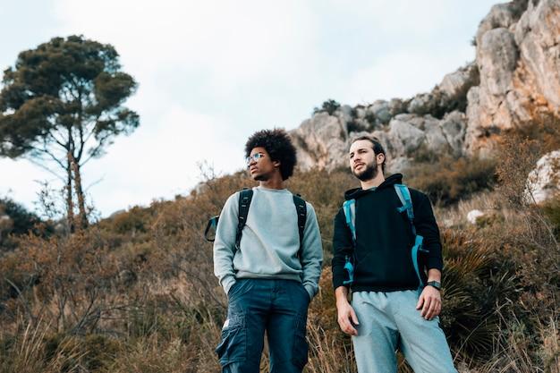 Vista de ángulo bajo de excursionistas multiétnicos masculinos