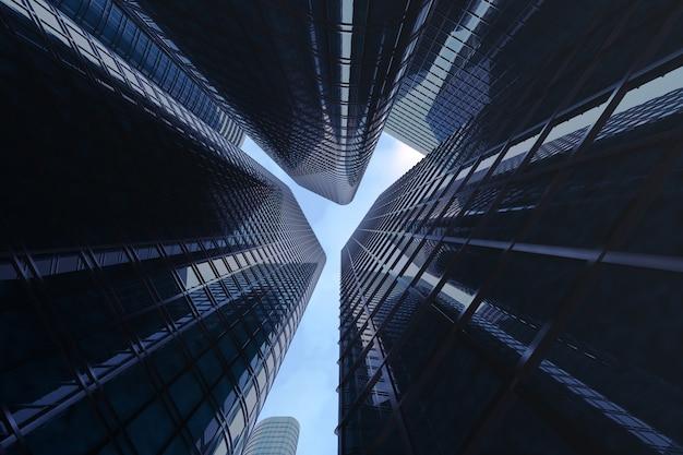 Vista de ángulo bajo de rascacielos.