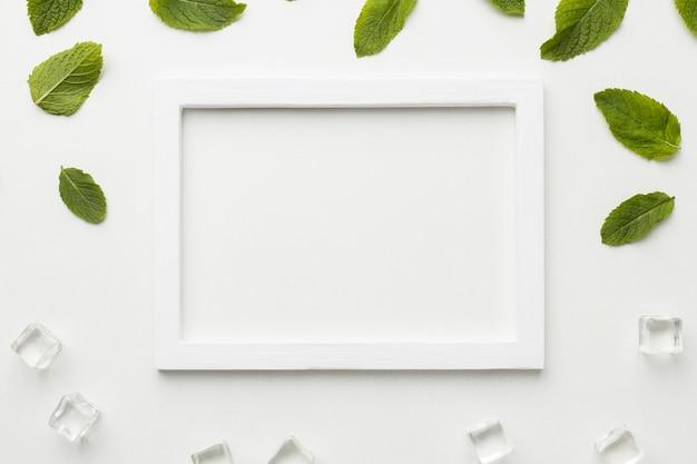 Vista anterior marco blanco con hojas
