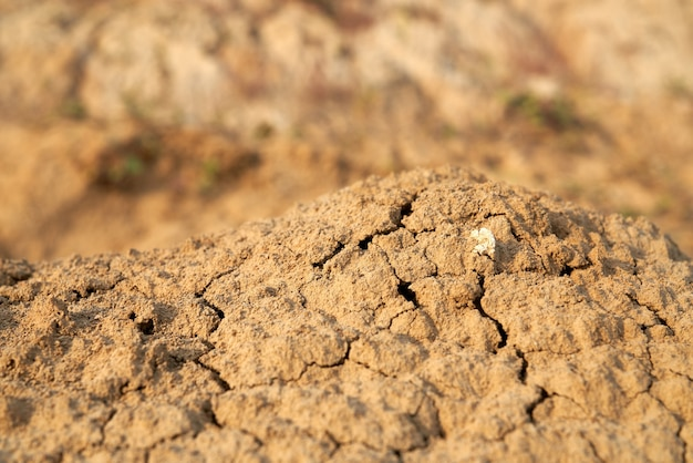 Vista anterior de montones de arena marrón que se desmorona en el desierto.