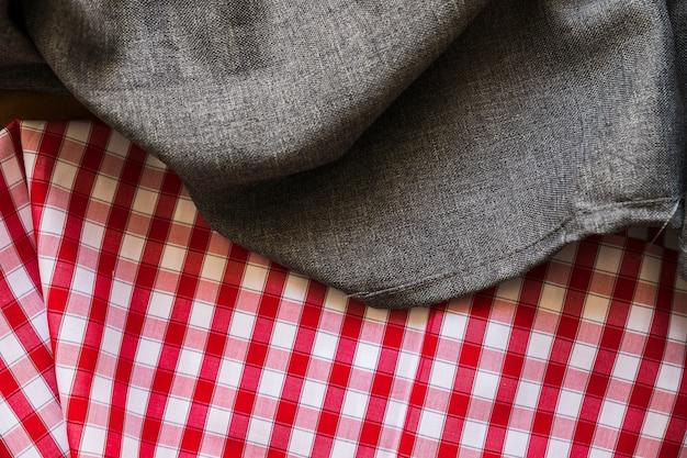 Una vista desde arriba del fondo de tela de algodón