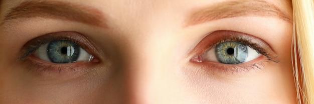 Vista de buzón de primer plano de ojos asombrosos de color verde gris hembra bonita