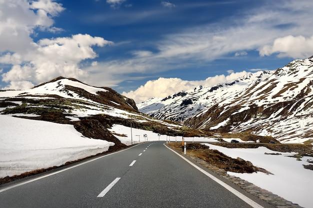 Vista del camino a través del parque nacional suizo en día de primavera soleado. lugares escénicos de suiza.
