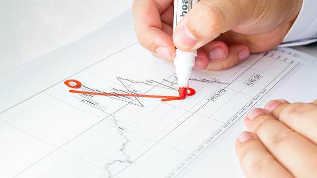 Vista de cerca del empresario dibujo gráfico o cuadro financiero decreciente. concepto de quiebra y crisis financiera mundial.