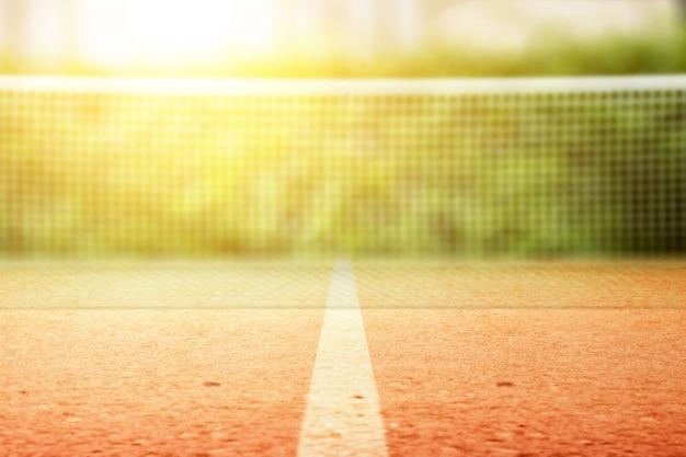 Vista de cerca de la red de tenis