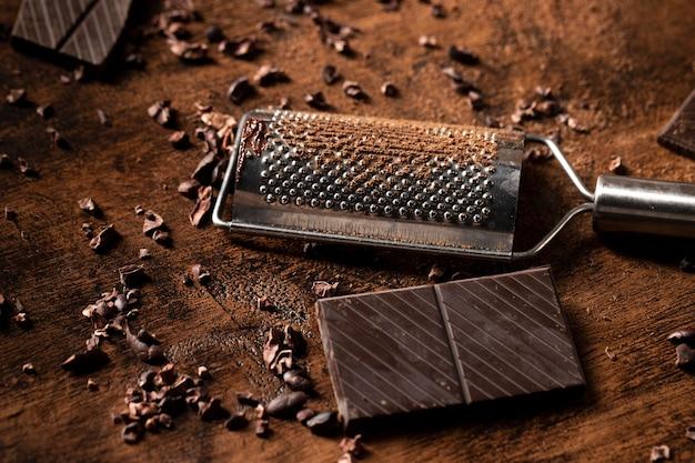 Vista cercana del concepto de barra de chocolate