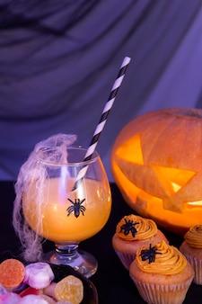 Vista cercana del concepto de calabaza de halloween