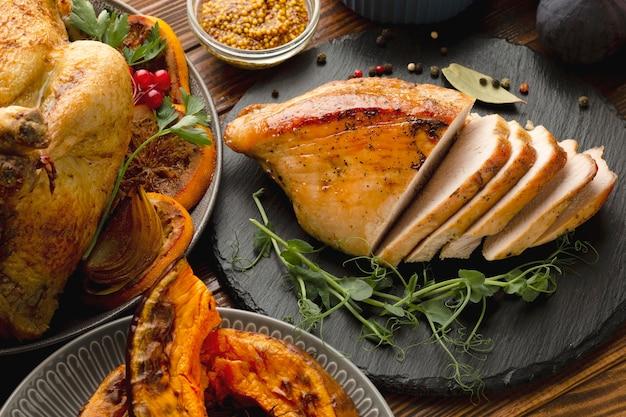Vista cercana del concepto de comida de acción de gracias