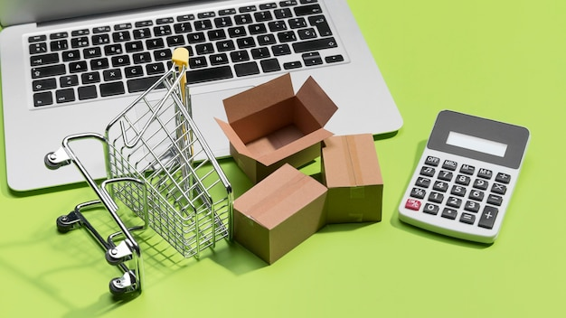 Vista cercana del concepto de compras en línea