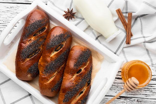Vista cercana del concepto de deliciosa pastelería