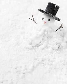 Vista cercana del concepto de muñeco de nieve