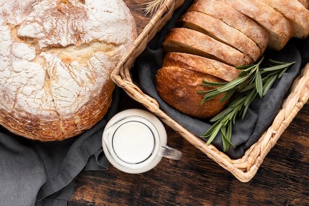 Vista cercana del concepto de pan delicioso