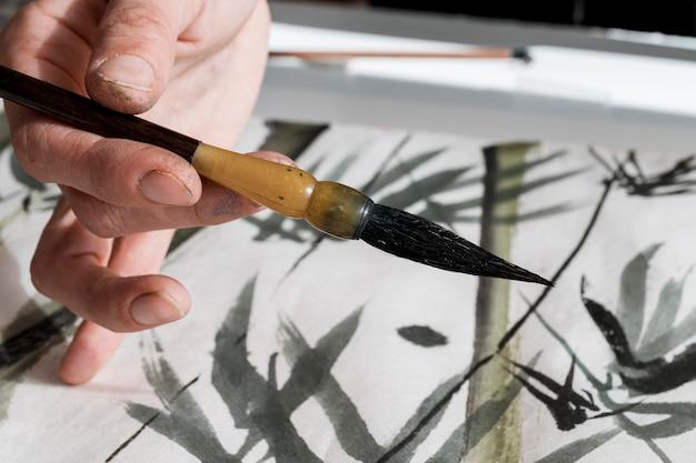 Vista cercana del concepto de tinta china