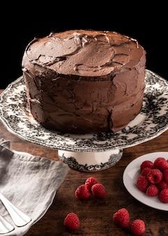 Vista cercana del delicioso concepto de pastel de chocolate