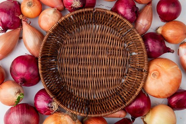 Vista cercana de diferentes cebollas con cesta vacía en el centro sobre fondo blanco.