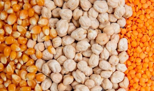 Vista cercana de diferentes tipos de granos de maíz, semillas, garbanzos, lentejas rojas