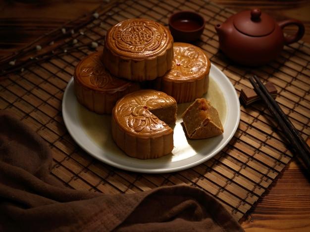 Vista cercana de pasteles de luna tradicionales en plato y juego de té en mantel de bambú. el carácter chino en el pastel de luna representa