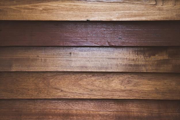 Vista cercana de las superficies de pared de madera para el fondo y pisos de madera antiguos