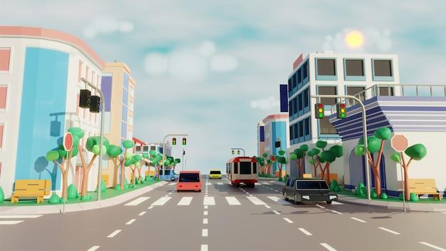 Vista a la ciudad con conducción de vehículos a lo largo de la carretera, edificios modernos en sunny scene.