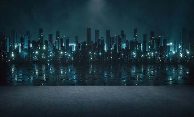 Vista de la ciudad por la noche desde el muelle con una reflexión sobre el río