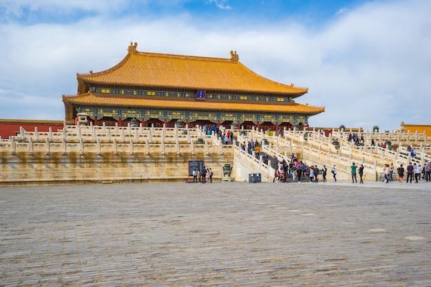 Vista de la ciudad prohibida en beijing del salón de la armonía suprema en beijing, china