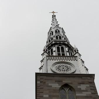 Vista de ángulo bajo de la basílica catedral de notre-dame, ottawa, ontario, canadá