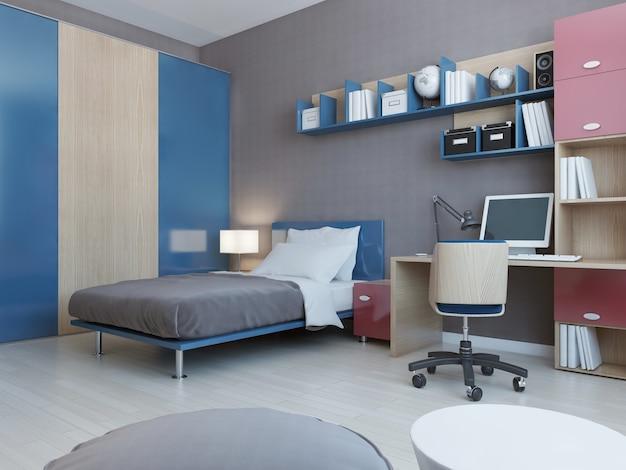 Vista del dormitorio de los adolescentes en colores rojo y azul y paredes de color gris claro y suelos claros.