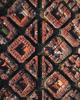 Vista de drone de la ciudad de barcelona