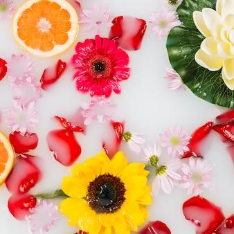 Vista elevada de la bañera de hidromasaje con leche decorada con pomelo y flores