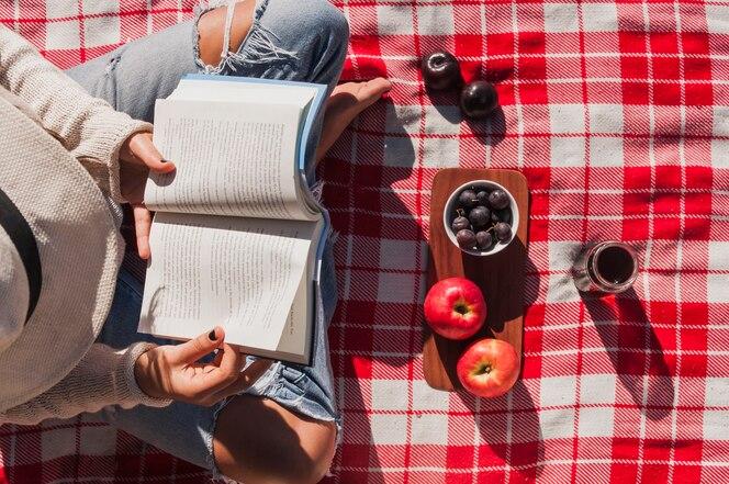 Vista elevada del libro de lectura de niña cerca de manzanas y bayas