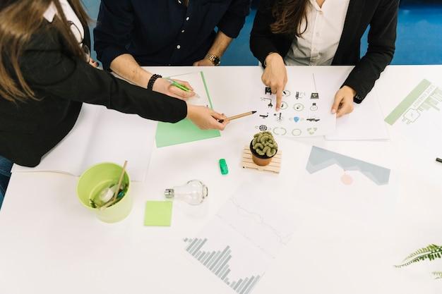 Vista elevada de empresarios que planifican la preservación de los recursos naturales en la oficina