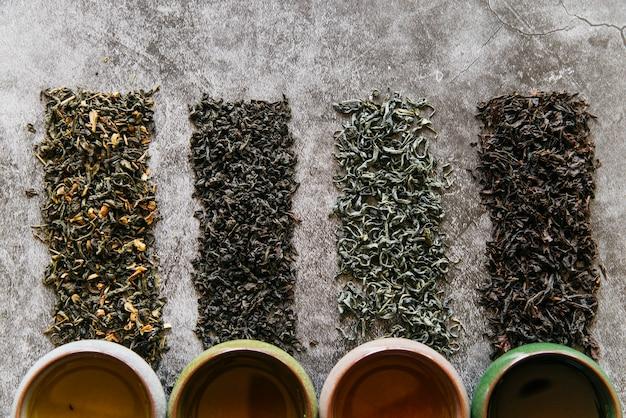 Una vista elevada de hierbas secas con tazas de té de hierbas contra el fondo gris oscuro
