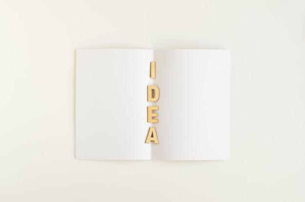 Vista elevada de la palabra idea en papel blanco