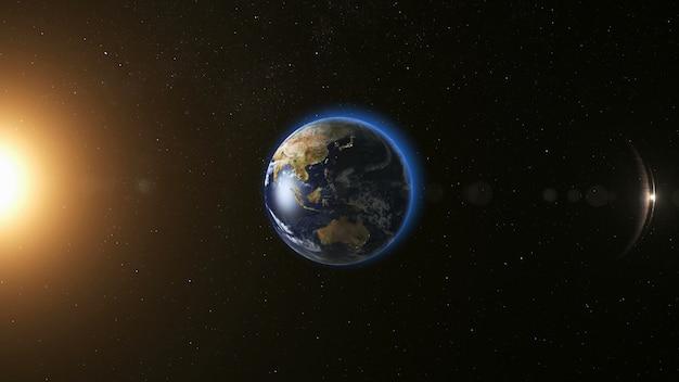 Vista del espacio en el planeta tierra y el sol en el universo