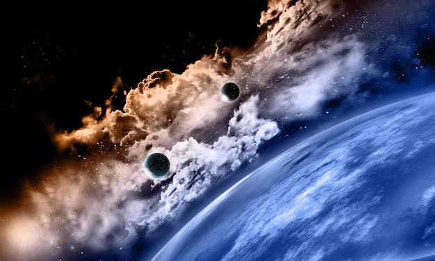 Vista del espacio con planetas