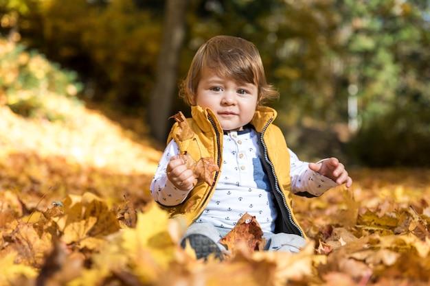 Vista frontal del bebé sentado en las hojas