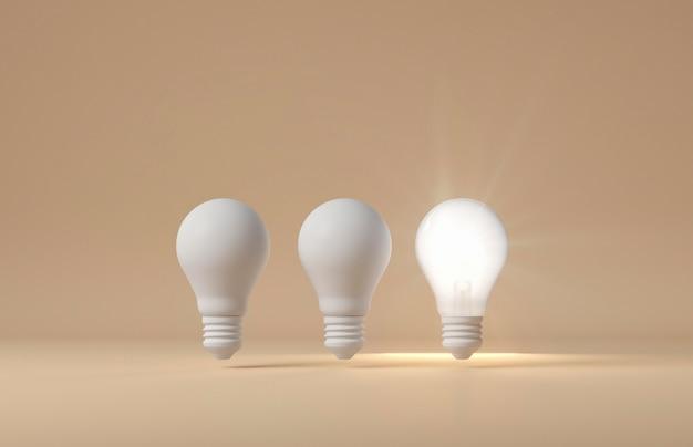 Vista frontal de bombillas encendidas y apagadas como concepto de idea